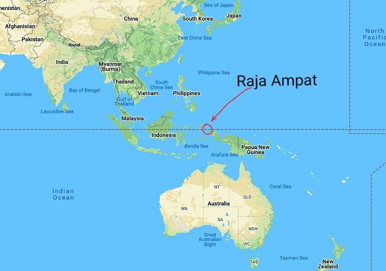 location of Raja Ampat in the map